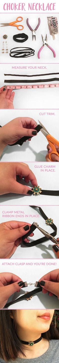 DIY: CHOKER NECKLACE! @WHATDAYMADE takes us through 5 easy steps to make this classic #choker #necklace. Click on the image above to check out more of our fashion DIYs. #diy