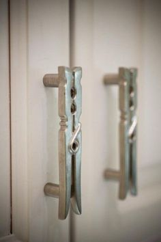 Clothespin Cupboard Handles for Laundry Room