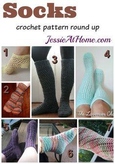 Socks - free crochet pattern round up: