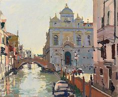 Ken Howard paintings for sale. Browse all available Ken Howard landscape, portrait, studio and flower paintings. Watercolor Art Lessons, Watercolor Sea, Watercolor Landscape, Landscape Art, Landscape Paintings, Ken Howard, Venice Painting, Cityscape Art, English Artists