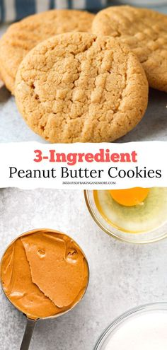 The 3 Ingredient, 13 Minute Peanut Butter Cookies are not your typical peanut butter cookie because they're made with only three ingredients and are ready in just thirteen minutes! They're the perfect thing to make when you need something sweet to eat or have little ones wanting a quick snack. Healthy Dessert Recipes, Easy Desserts, Baking Recipes, Cookie Recipes, Delicious Desserts, Bar Recipes, Family Recipes, Crockpot Recipes, Best Homemade Cookie Recipe