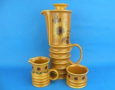 Vintage CARLTON WARE Coffee Pot, Milk Jug & Sugar Bowl Set - Sunflower Design #CoffeePotSets