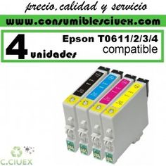 Tinta compatible epson t0611/2/3/4 x4