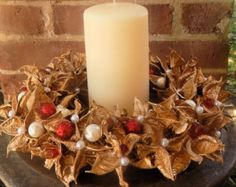 Holiday Cotton Burr Wreath Jeweled Golden by BusyBeasBoutique Christmas Candle, Christmas Wishes, Christmas Stuff, Pillar Candles, Centerpieces, Wreaths, Door Wreath, Unique Jewelry, Handmade Gifts