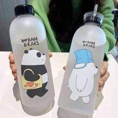 Cute Water Bottles, Plastic Bottles, Brown Cups, We Bear, Cute Cups, We Bare Bears, Cool Things To Buy, Stuff To Buy, Aesthetic Food