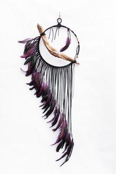 Driftwood Dreamcatcher Raven  10 iridescent purple