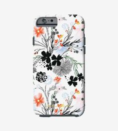 Inspired by the colors and lush landscapes of tropical getaways, this floral print phone case is covered in bright blooms. Drawn by hand, the flowers cover a light blue or white background in hues of pink, peach and coral with black linework in between. The impact-resistant plastic snaps securely onto your iPhone or Galaxy S, providing pretty protection for your most important device.