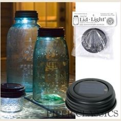 Lid Light from Piper Classics. Great for patio lighting, walkway lighting, garden accents, and more.  Use as an adorable night light that illuminates items you add in the jar. The lid has an LED with a solar tray to power it. SO CUTE!