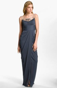 Adrianna Papell Embellished Draped Mesh Gown available at #Nordstrom @ sara j