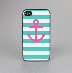 The Teal Striped Pink Anchor Skin-Sert for the Apple iPhone 4-4s Skin-Sert Case