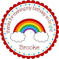 Rainbow Magic (red border).  Personalized stickers by partyINK.