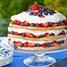 15 Totally Tasty July Treats: Blueberry strawberry shortcake, by Family Circle Oreo Trifle, Cupcakes, Just Desserts, Dessert Recipes, Strawberry Shortcake Recipes, Strawberry Blueberry, Salty Cake, Savoury Cake, Mini Cakes