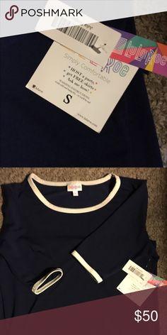 SMALL JULIA. Dark navy-white trim collar sleeves. NWT -- gorgeous! LuLaRoe Dresses Midi