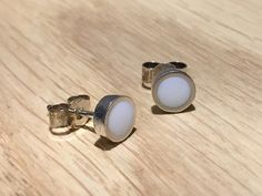Snowy studs - handmade in sterling silver & white resin