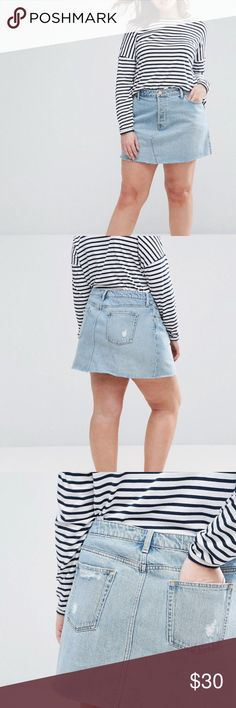 ASOS Curve Denim Mini Skirt Super cute & trendy denim skirt. UK22/US18. Very little/almost no stretch. ASOS Curve Skirts