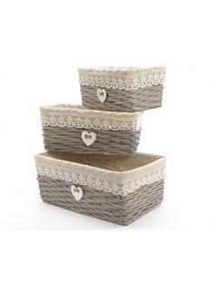 Grey Willow Storage Basket Set of 3 @ rosefields.co.uk