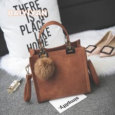 26b009103 2017 New Arrival fur ball Women Handbag Fashion Matte Leather Shoulder Bag  Small Flap Casual Cross Body Bag Retro Tote-in Top-Handle Bags from Luggage  ...
