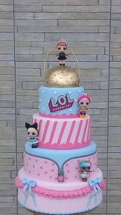 Funny Birthday Cakes, 6th Birthday Parties, Birthday Cake Girls, Birthday Party Decorations, Birthday Celebration, Lol Doll Cake, Surprise Cake, Doll Party, Lol Dolls