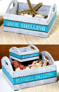 Wood Trays Boxes with Beach Sayings. Shop or use as a DIY idea! http://ocean-beach-quotes.blogspot.com/2015/08/beach-serving-trays-nesting-boxes-organizers.html