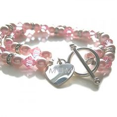 pink engraved pearl wedding bracelet a lovely Mother of the bride gift. £49.99
