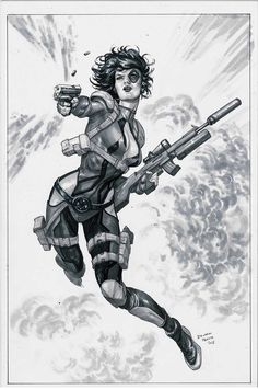 Original Comic Art titled Domino Commission by Eduardo Pansica, located in Jason's Commissions and Sketches Comic Art Gallery Comic Book Characters, Comic Book Heroes, Marvel Characters, Comic Books Art, Female Characters, Book Art, Marvel Xmen, Marvel Art, Domino Art