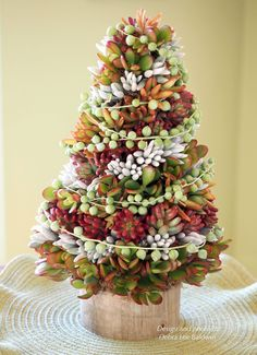A succulent topiary tree holiday centerpiece needs less care than a floral arrangement and lasts much longer—several months or more. Its requirements are similar to those of a succulent wreath: bright but not intense light (rotate occasionally for even exposure), weekly watering (from the top, to evenly moisten the moss), and pinching back if cuttings …