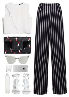 """""""134. Clara"""" by mshalloweenhead ❤ liked on Polyvore featuring MANGO, Yves Saint Laurent, Miss Selfridge, Seletti, Lalique, white, stripes, office and trousers"""