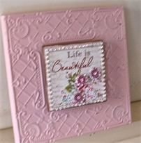 """Life is Beautiful"" Inspirational Wall Plaque. 20cm x 20cm. Embellished with pink crystal flowers and a diamante border. $18.00."