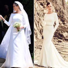 Long sleeve bateau neckline A-line wedding dress. Get Meghan's look at #Kleinfeld with this Mikaella wedding dress that's under $2,000! (PS: the belt can be removed!) ✨ #royalwedding  #Regram via @kleinfeldbridal