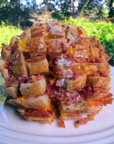 Chicken, cheddar, bacon, ranch bread...looks yummy.