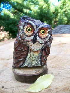 Osmo Owl Painted Stone Rock Art by 2birdstudio on Etsy, $16.00
