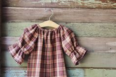 Brown Plaid Flannel dress thanksgiving three by plainjanesstore, $19.50