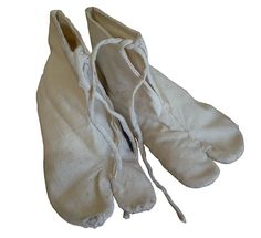 A Pair of White Cotton Tabi: Rustic Foot Gear