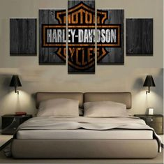 Harley-Davidson bar shield orange black wood motorcycle rider wall art canvas
