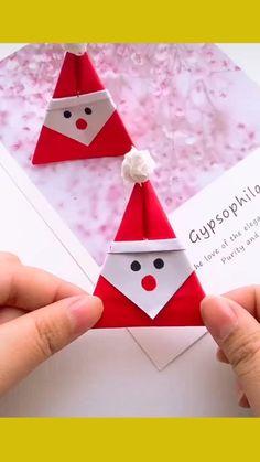 Christmas Cards Handmade Kids, Preschool Christmas Crafts, Diy Christmas Decorations Easy, Christmas Origami, Santa Origami, Christmas Crafts For Kids, Xmas Crafts, Christmas Diy, Santa Crafts