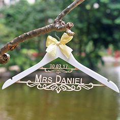 Custom wood wedding Hanger with name and date for bride with bow, personalized bride bridesmaid dress hanger, 44 cm laser cut Wedding dress Hanger Gifts for bride