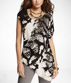 SNAKESKIN PRINT ASYMMETRICAL TUNIC at Express