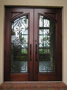 21 Ideas For Iron Front Door Ideas Beautiful Wooden Door Design, Main Door Design, Front Door Design, Front Door Colors, Iron Front Door, Double Front Doors, Wood Front Doors, Front Entry, Main Entrance Door