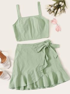 To find out about the Tank Top & Ruffle Hem Wrap Skirt Set at SHEIN, part of our latest Two-piece Outfits ready to shop online today! Girls Fashion Clothes, Teen Fashion Outfits, Look Fashion, Girl Fashion, Steampunk Fashion, Gothic Fashion, Cute Summer Outfits, Cute Casual Outfits, Stylish Outfits