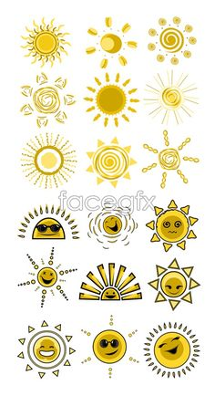 Cute funny expression vector _ the Sun icon vector