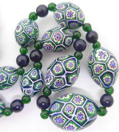 VINTAGE ART DECO VENETIAN MURANO MORETTI MILLEFIORI GLASS BEAD NECKLACE in Jewellery & Watches, Vintage & Antique Jewellery, Vintage Costume Jewellery | eBay!