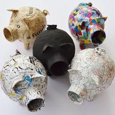 paper mache piggy banks