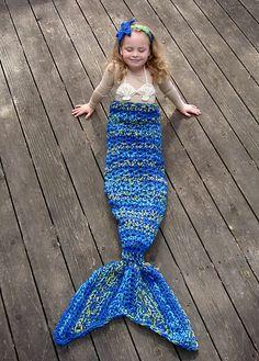 Ravelry: Set of 4 Mermaid patterns - Mermaid Tail, Headband, Bikini top, and Fishing Net Blanket pattern by Crochet by Jennifer