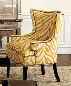 sunflower zebra chair! I totally want two of these for my living room!