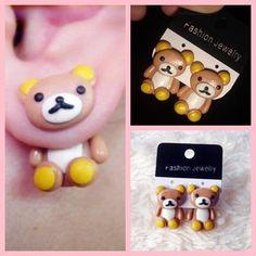 cute rilakkuma hanging clay earrings - Cutie Kyut Shoppe