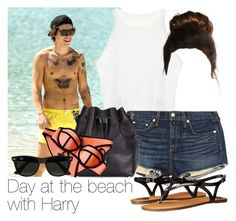 """""""REQUESTED: Day at the beach with Harry"""" by style-with-one-direction ❤ liked on Polyvore featuring rag & bone/JEAN, Proenza Schouler, Triangl, Ray-Ban, Fergalicious, OneDirection, harrystyles, 1d and harry styles one direction 1d"""