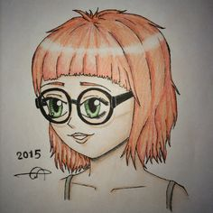 #2015 #cute #girl #drawing by me.. :) . . #art #Illustrations #hand_drawing #eyes #face #anime #beautiful #female #hair #manga #young #photography #picture #colors #pencils #glasses