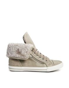 Trendy Womens Sneakers : New Look Beige Meerkat Fur Cuff Hi Top Sneaker