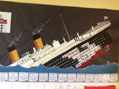 Titanic Papercraft Made This for Laura S Classroom Hms Titanic Hope the Kids Like It Di Titanic Art, Titanic Model, Titanic Sinking, Titanic Ship, Rms Titanic, Class Displays, School Displays, Classroom Displays, Classroom Art Projects