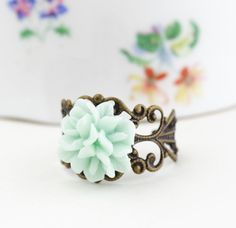 Mint Green Flower Ring Antique Brass by JacarandaDesigns on Etsy